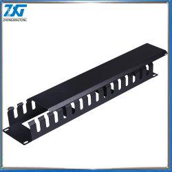 منظم إدارة كبلات Ethernet منظم 1U مقاس 19 بوصة حامل معدني أداة التركيب إدارة الكبلات الأفقية لحاوية الشبكة