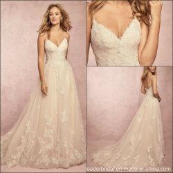 Uma linha de Suite Dress Lace Esparguete Backless vestido de noiva 2019 M9047