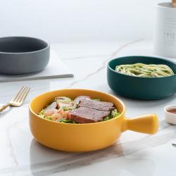 La vaisselle en céramique mat Macaron Salade de pâtes alimentaires casserole de brioche, Portable Riz cuit au four des pots en Céramique
