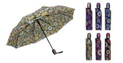 3 Falten-Automobil-geöffnete Blumen-Drucken-Dame Fashion Rain Umbrella