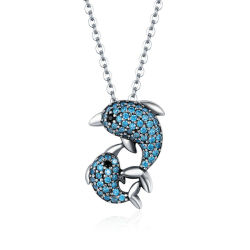 Роскошный история дельфина Silver подвесной ожерелья