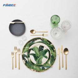 Qualitäts-Küche-Koch-Ware-Goldfelgen-Tafelgeschirr-Porzellan-Teller-Bananen-Blatt-Essgeschirr-Set