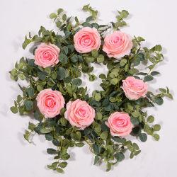Rosa artificial Viña flores con hojas verdes que cuelgan de seda rosa guirnalda de flores de vid de las plantas de hiedra para el hogar Decoración de pared Jardín Boda