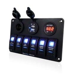 ヒューズ青いLEDデジタルボルトメータのタバコのライター二重USBの充電器が付いている防水ロッカースイッチパネル