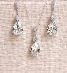 Poire Bridal CZ NECKLACE Bijoux Set, Mariage CZ NECKLACE Bijoux Set, demoiselle d'honneur Necklace Set, ensemble de collier de cadeaux