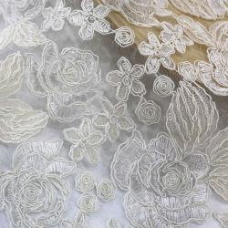Alta calidad de color blanco bordado de encaje lentejuelas vestido tejido