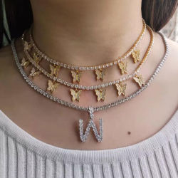 ジルコンのテニスは3mmのテニスの鎖が付いている人または女性の金の銀カラー方法Hip Hopの宝石類のためのネックレス及びペンダントに文字を入れる