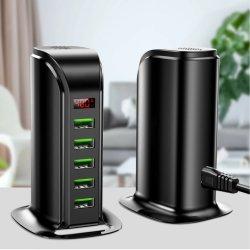 5 As portas do cubo carregador USB LED Multi estação de carga USB Dock Universal Mobile Phone Parede Desktop Home UE ficha RU