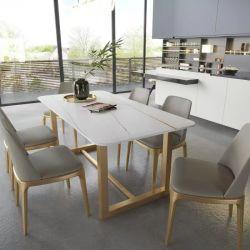 الجملة والتاليان الحديثة البسيطة الفاخرة الحمام الرخامي الفاخر مجموعة أثاث هوم طاولة ومطعم بأثاثات خارجية طاولة طعام