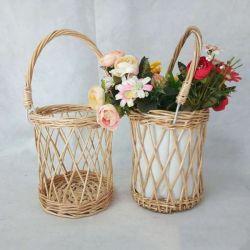 시골 작풍 고리버들 세공은 Handmade 버드나무 홈 장식적인 바구니 손에 의하여 길쌈된 등나무 화병 꽃 통을 만든다