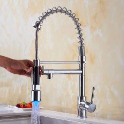 Chrome светодиодный индикатор латунные одиночный рычаг потяните вниз воды на кухне кран заслонки смешения воздушных потоков