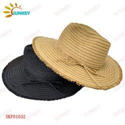 Черный 100% бумаги Red Hat соломы Панама стиле, края кромки с метелками, подходит как для мужчин и женщин Red Hat, соломы летом пляж затенения Red Hat соломы.