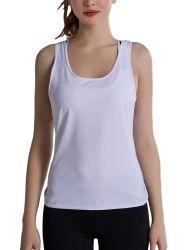 Shangyan Deportes de la mujer abierta posterior de cuello redondo Camiseta Sin Mangas Chaleco Yoga Top