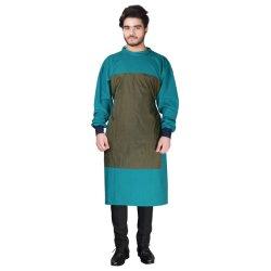 Robe de chirurgien (imperméable) Tissu de coton Réutilisable et lavable masque libre et capuchon