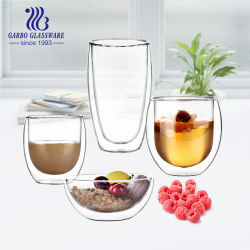 400ml 고급 이중 벽 커피 유리 컵 붕규산염 유리 용기 맞춤형 식기류 소량 주문 재고를 사용하는 홈 레스토랑용
