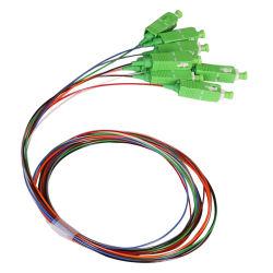 12カラーファイバーSc Upc APCの単一モードG652D G657A 0.9mmのリボンの光ファイバピグテールSc 12のコアファイバーのピグテール