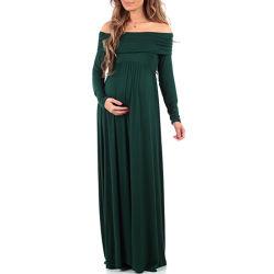 De Manga Longa cor sólida um vestido de maternidade de lapela de ombro