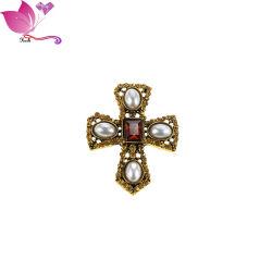 Personalizadas OEM Cruz Vintage Broches de cristal de aleación de perla cristiano