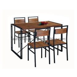 Großhändler Küche & Esstisch Set 1 Esstisch 4 Stühle Rustikale Industrial Style Brown für Wohnzimmer Möbel