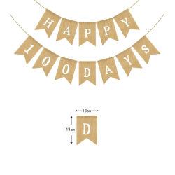 Hersteller, die dekoratives Fisch-Endstück-Markierungsfahnen-Geburtstag-Baby 100 Tageszeichenkette-Markierungsfahne hundert Tagesglückliche 100 Tagesleinenschwalbenschwanz-Zug-Jutefaser-Tuch-Wimpel-Schnur verkaufen