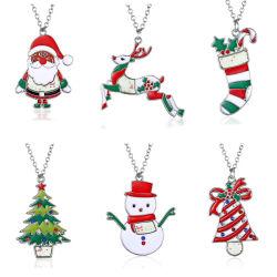 Funktionseigenschaft-nette Form-Schmucksache-Diamant-Weihnachtsdecklack-Schneemann-Anhänger-Halskette