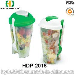 Salada de plástico Shaker Cup com o garfo e o molho Cup (HDP-2018)