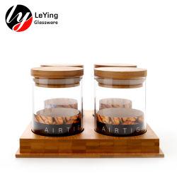 المنزل الاستخدام المنزل الخشب قاعدة الخيزران غطاء الزجاج تخزين قنينة تعيين