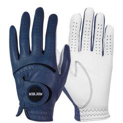 Il giocatore di golf sinistro su ordinazione all'ingrosso dell'azzurro di blu marino mette in mostra i guanti