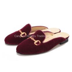 إبزيم شريط نساء أحذية أحمر مخمل خفاف