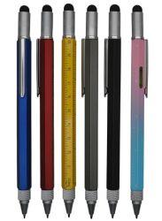 Penna di sfera del metallo di funzione della penna di Stcok con lo stilo, scale del righello di misura