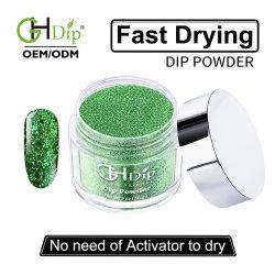 Glitter acrílico de uñas de color verde en polvo de inmersión 2oz.