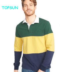 Os homens a cor de contraste Polo Camisas de Manga Longa de alta qualidade Stripe Polo T Shirt vestuário de algodão