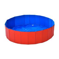 A cor azul e vermelha Cão Gato dobrável de PVC exterior grande cão de estimação Piscina Lavar 80x20cm