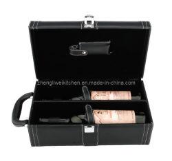 Ledernes Wine Box mit Waiters Corkscrew 608220