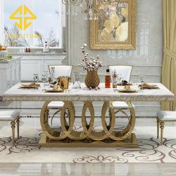 Aço inoxidável Metal Especial moderna sala de jantar em mármore mesa para Restaurante Hotel Caso Home hall de banquetes de casamento festa Use
