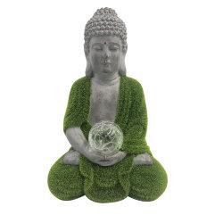Llegan nuevos Zen OEM Fengshui Hogar y Jardín decoración musgo Artificial terminado meditación estatua de Buda de resina bola de cristal con LED.