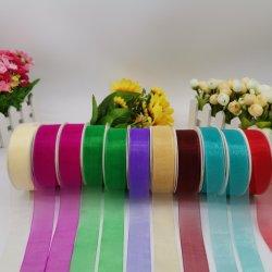 印刷のための多くのカラーのオーガンザのリボンか装飾またはギフト用の箱のパッキングまたは弓または包むこと