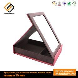 Artesanal de boa qualidade de couro Rosa Folable Cosmetic Espelho Retrovisor Interior