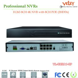 China 8CH profesional 4K de Poe Red NVR CCTV Video Recorder