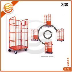Revêtement en poudre 3 côtés de la logistique du rouleau de métal lourd chariot Panier