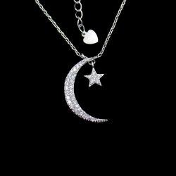 Personifizierte CZ-Steinstern-Mond-geformte reine silberne Abend-Partei-Halskette