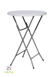 Table pliante en plastique pour l'extérieur haute barre de pied de table ronde 80cm