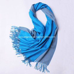 OEMの品質の100%年のカシミヤ織の二重側面はブラシをかけられた編まれたショールのスカーフを結停止する