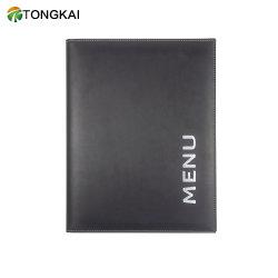 Ligera de cuero de PU negro Portadocumentos cubierta con el logotipo de Silk-Screen