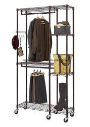 Meubles en métal portable vêtement Vêtements de laminage de Rack Hanger placard pendaison étagère Chariot ferroviaire de l'organiseur de l'habillement de l'unité d'étagères