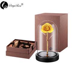 Daiya amarelo limão Rosa de ouro de 24K /Gold Leaf+a tampa de vidro