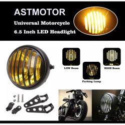 Universal 35W Retro Motorcycle Grill 헤드라이트 W/Bracket Vintage Moto Harley Cg125 Gn125 Cafe Racer용 프론트 헤드 라이트 램프 가와사키 할리 혼다 야마하