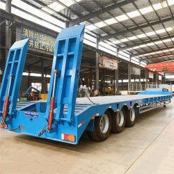 중국 Tri/3/4 차축 60미터톤 80t 100톤 저수준 로더 중부하 작업용 굴삭기 운송 단계 드롭 데크 Lowbed 로우 베드 트럭 세미 트레일러 판매