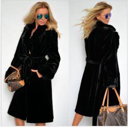 Casaco de pelo sintético, gola de fato, casaco de algodão com adição de algodão, casaco macio de secção comprida espesso, casaco S Coat para mulher ′, corta-vento
