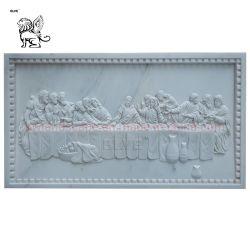 Peste Pedra Branca do último jantar escultura de alívio de Mármore Parede Última Ceia